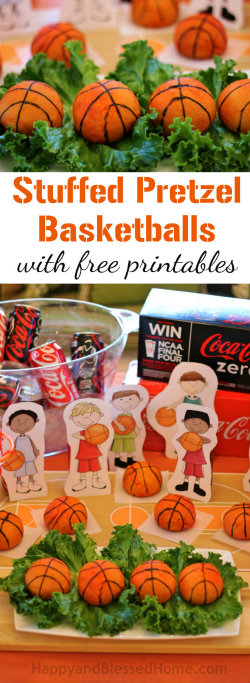 250 Tasty Stuffed Pretzel Basketballs recipe with Free Basketball Party Decor via Free Printables from HappyandBlessedHome