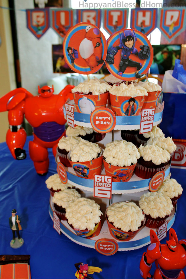 Big Hero 6 Vertical Cupcake Tower and Big Hero 6 BIrthday Party ideas from HappyandBlessedHome.com
