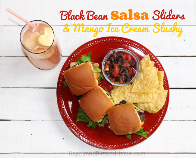 Black Bean Salsa Slider Recipe and Mango Ice Cream Slush from HappyandBlessedHome.com