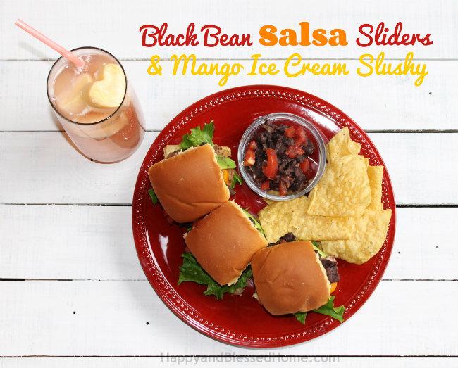 Black Bean Salsa Slider Recipe and Mango Ice Cream Slush from HappyandBlessedHome.com
