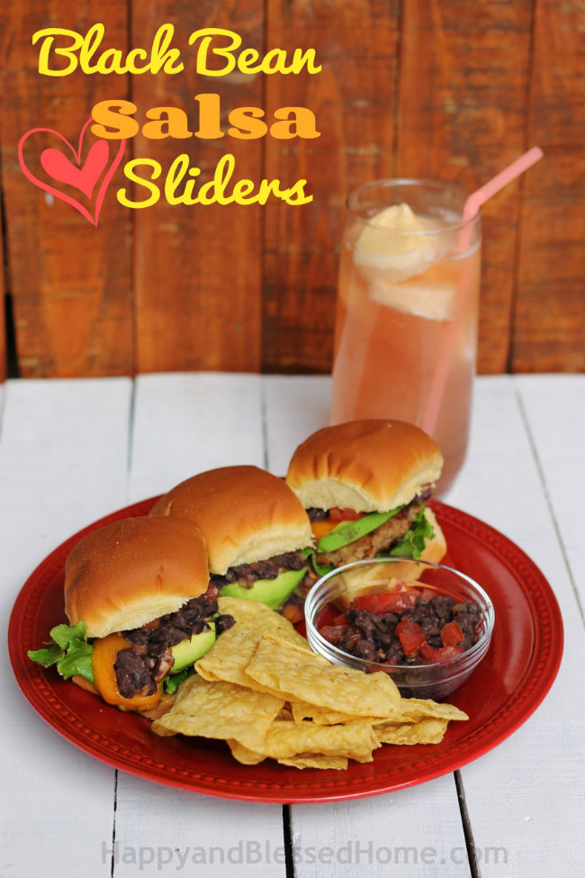 Black Bean Salsa Sliders and Mango Ice Cream Slush Easy Recipe from HappyandBlessedHome.com