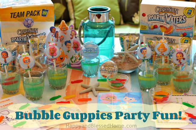 Bubble Guppies Fun Party Decorations and Party Ideas and Capri Sun Roarin Waters Jello Recipe from HappyandBlessedHome