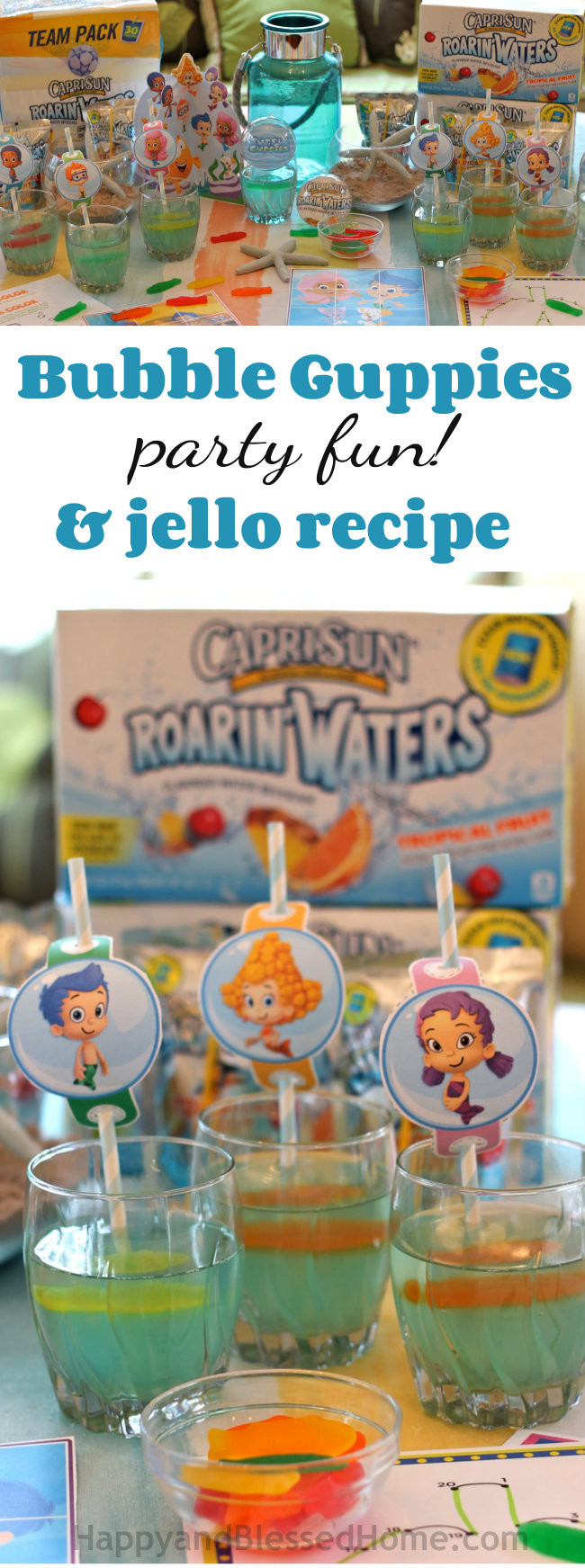 Bubble Guppies Party Fun and Jello Recipe from HappyandBlessedHome.com