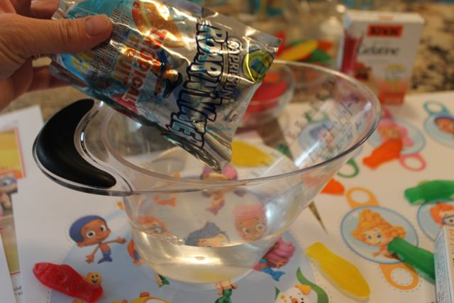 Collect 4 Cups of Capri Sun Roarin' Waters to create Bubble Guppies Jello Recipe from HappyandBlessedHome.com