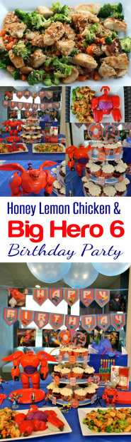 Delicious and Easy Recipe! Honey Lemon Chicken recipe and a Big Hero 6 Birthday Party from HappyandBlessedHome