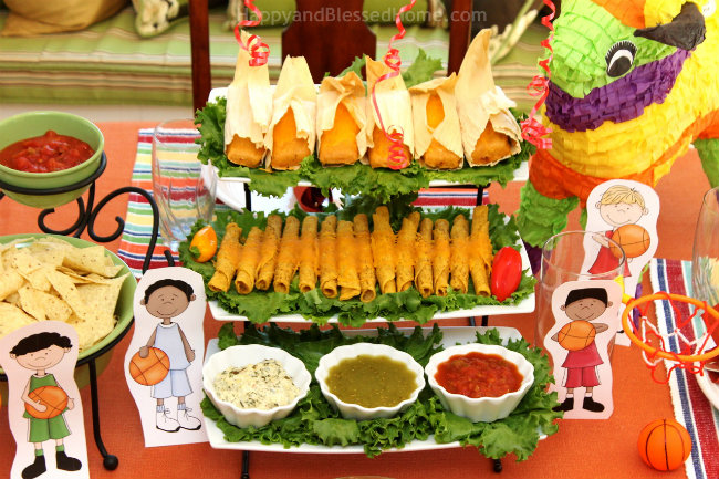 Delimex Taquitos and Tamales and Seven Layer Dip with FREE Basketball Printables from HappyandBlessedHome.com