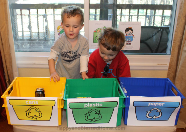 Earth Day Activities for Kids Set up a Recycling Station and practice Recycling from HappyandBlessedHome.com.jpg