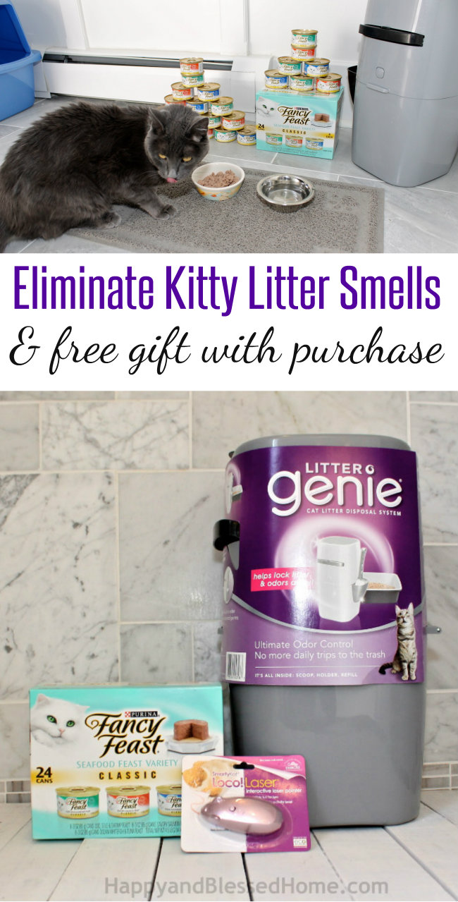 Eliminate Kitty Litter Smells with Litter Genie and get a FREE Gift with Purchase Step by Step Tutorial at HappyandBlessedHome.com