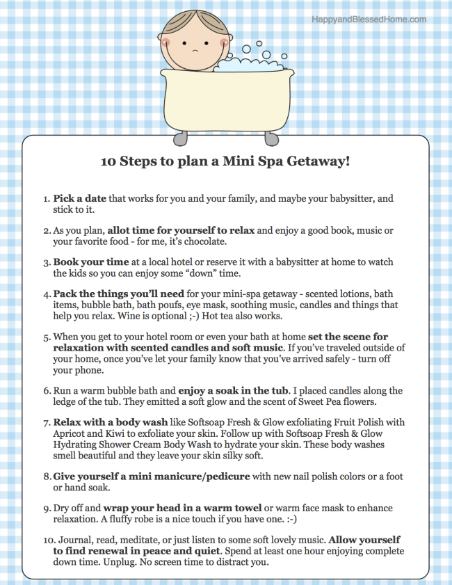 FREE Printable with 10 Steps to Plan a Mini Spa Getaway