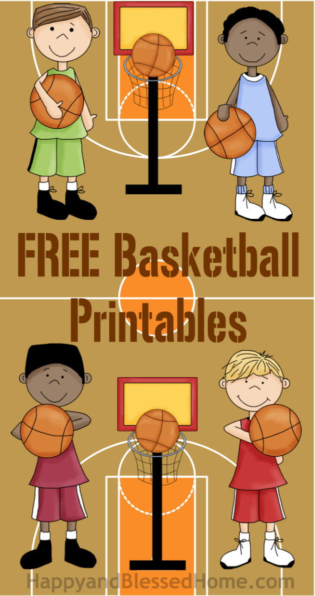 Free Basketball Printables with Basketball Players and Basketball Court from HappyandBlessedHome.com