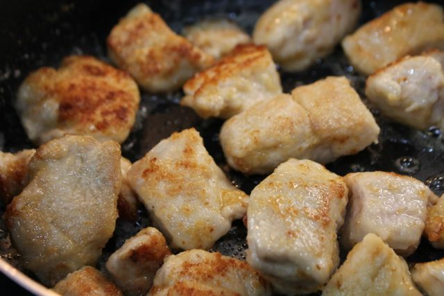 Fry flour battered chicken in butter for Honey Lemon Chicken recipe