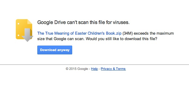 Google Can't scan for viruses