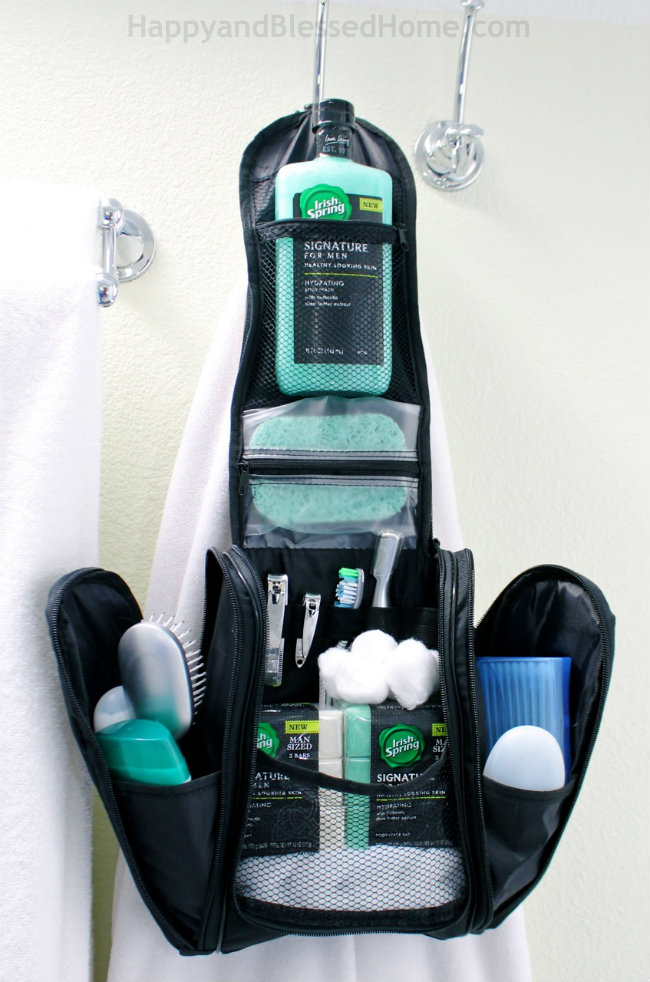 Hanging men's toiletry bag with Irish Spring Essentials from HappyandBlessedHome