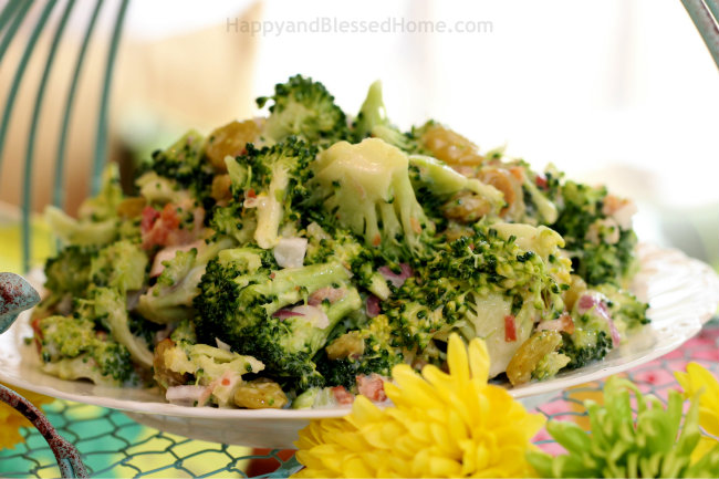 HoneyBaked Ham Broccoli Crunch and Flower Decor for an easy Easter Meal from HappyandBlessedHome.com
