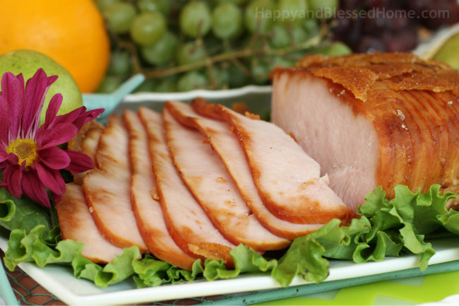 HoneyBaked Ham Store Sliced Turkey on gree leaf lettuce from HappyandBlessedHome.com
