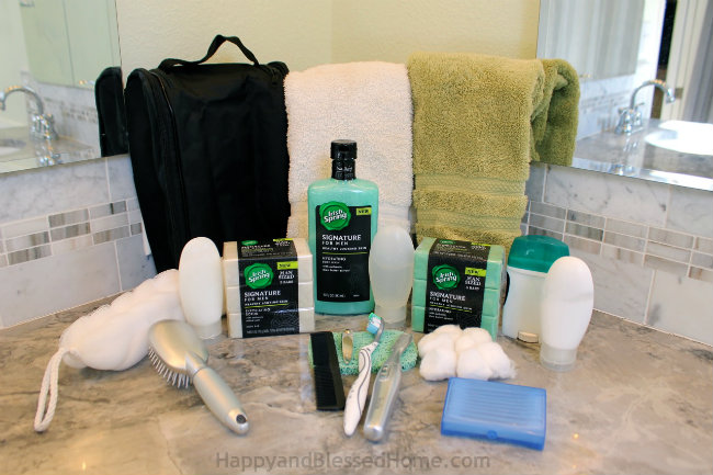 How to pack a men's toiletry with Irish Spring Essentials from HappyandBlessedHome.com
