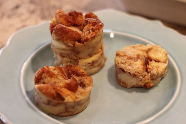 Use a two inch cutter to create mini towers of bread pudding from HappyandBlesedHome.com