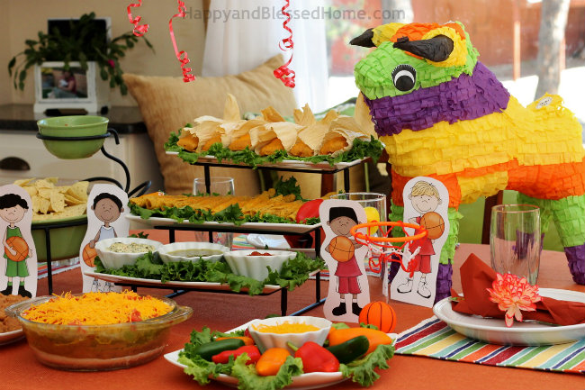 Mexican Style Fiesta Basketball Party with Delimex and my 7 Layer Dip Recipe from HappyandBlessedHome.com