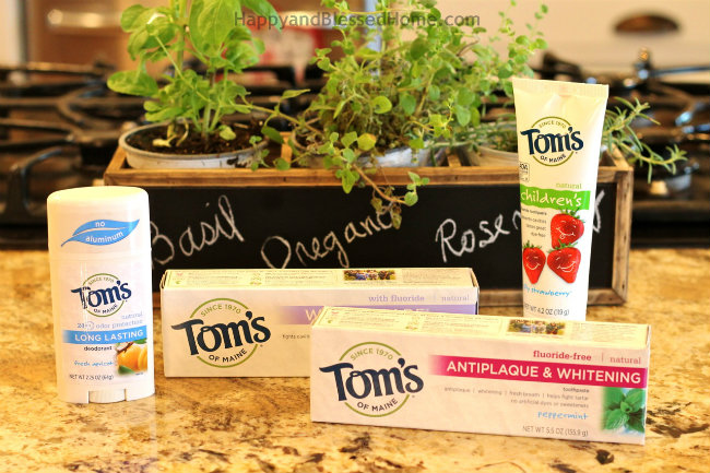 My new herb garden and Tom's of Maine all natural products from HappyandBlessedHome.com