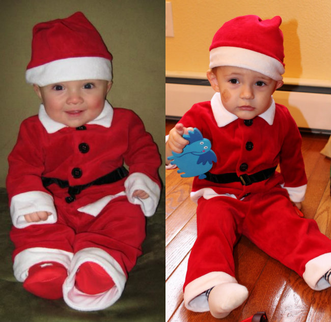 My two boys both wearing our beloved Santa Suit photo copyright HappyandBlessedHome.com