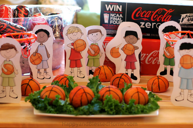 Planning a Basketball Party Free Basketball Player Printables and Tasty Stuffed Pretzel Basketball Recipe from HappyandBlessedHome.com