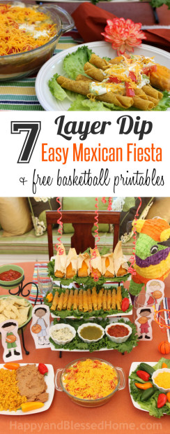 Seven Layer Dip with an Esay Mexican Fiesta and Free Basketball Printables for your next Basketball Party from HappyandBlessedHome.com