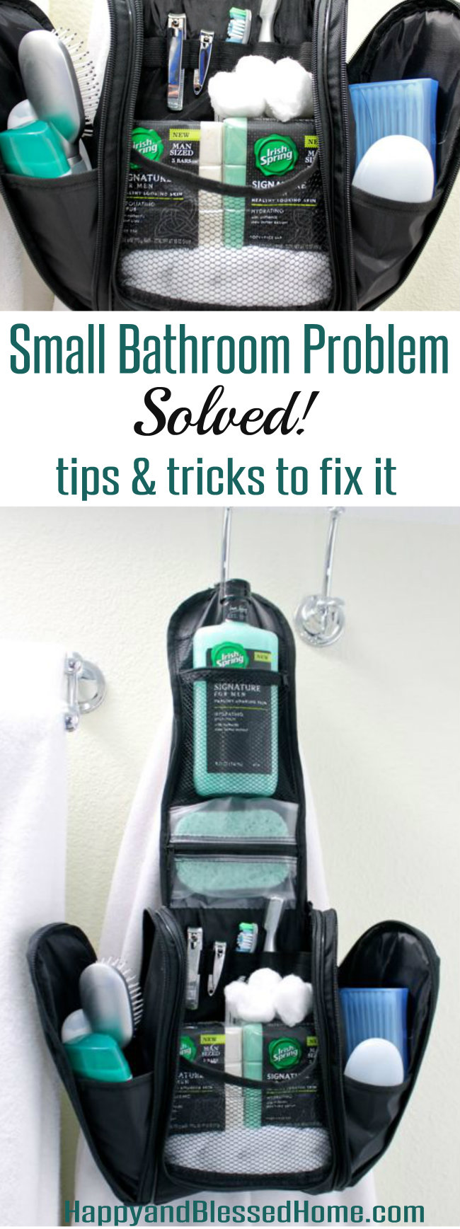 Small Bathroom Problem Solved - Use these tips and tricks to fix it! From HappyandBlessedHome.com