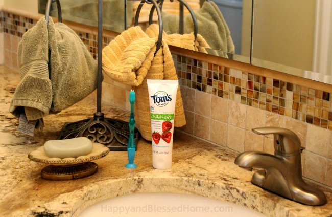Tom's of Maine Silly Strawberrry an all natural toothpaste for kids from HappyandBlessedHome