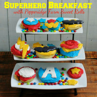 200 Create your own Superhero Breakfast with Pepperidge Farm Sweet Rolls All the Avengers and Superheros from HappyandBlessedHome