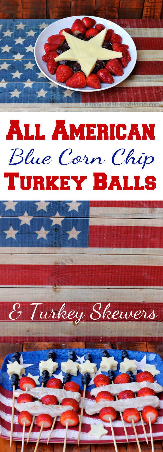 All American Blue Corn Chip Turkey Balls and Turkey Skewers Recipes from HappyandBlessedHome.com