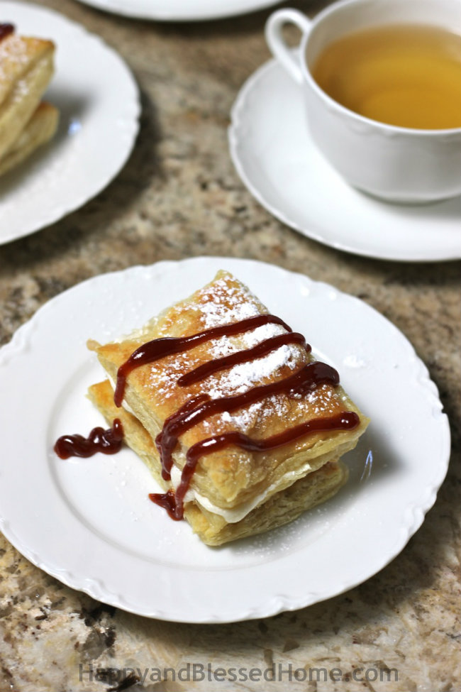 Cuban style Guava and Cream filled Pastries with Guava topping from HappyandBlessedHome.com