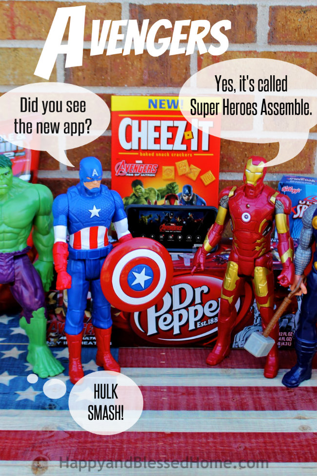 Dialog MARVEL's The Avengers Age of Ultron featuring FREE Avengers Party Printables and App Tutorial from HappyandBlessedHome.com