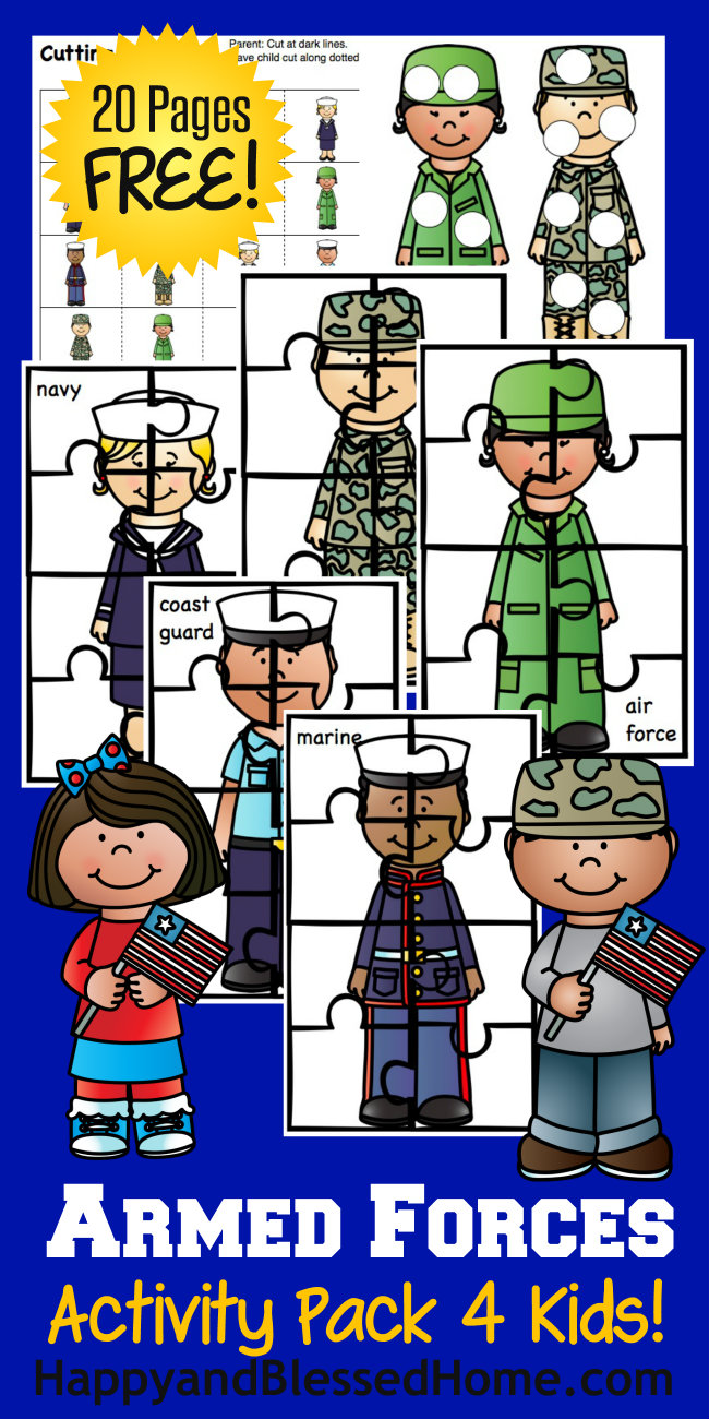 Free Armed Forces Activity Pack for Kids with over 20 Pages of Fun from HappyandBlessedHome.com