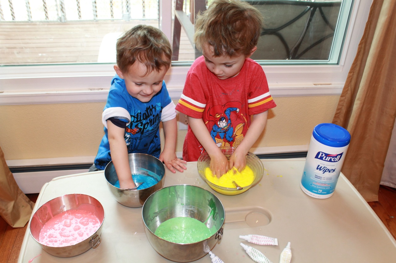 Kids love to play with rainbow slime! Final mixing can be done by hand. Slime recipe from HappyandBlessedHome.com