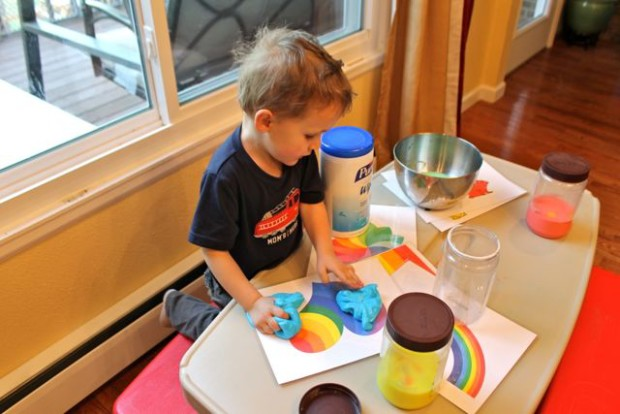 Easy Rainbow Slime Recipe with free printable rainbow worksheets for kids from HappyandBlessedHome.com