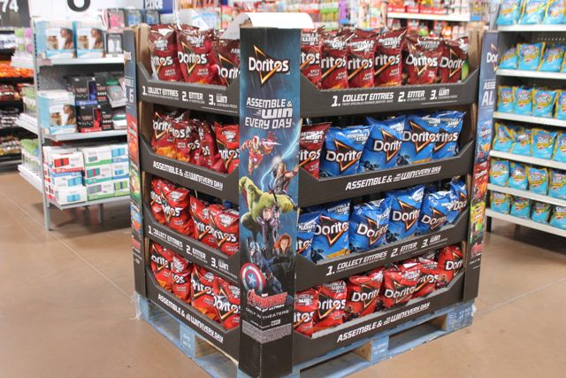 Scan the Doritos display to activate character photo opps on the Super Hero Assemble App