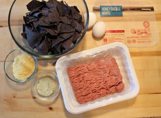 Ingredients for All American Blue Corn Chip Turkey Balls from HappyandBlessedHome