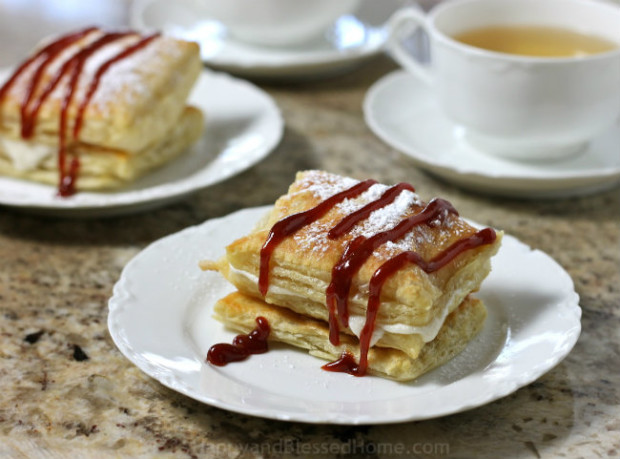 Light and Flaky Cuban Inspired Guava Pastry with Cream from HappyandBlessedHome.com