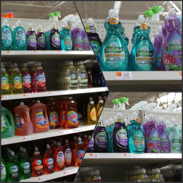 Palmolive Multi Surface Dish Soap is located with the dish soaps at Walmart