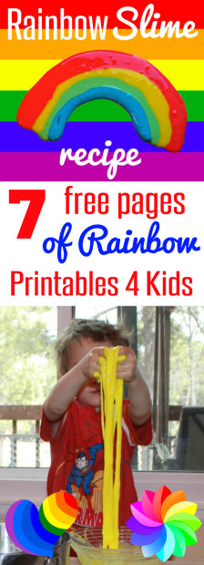 Rainbow Slime Recipe with 7 Free Pages of Rainbow printables for Kids from HappyandBlessedHome.com