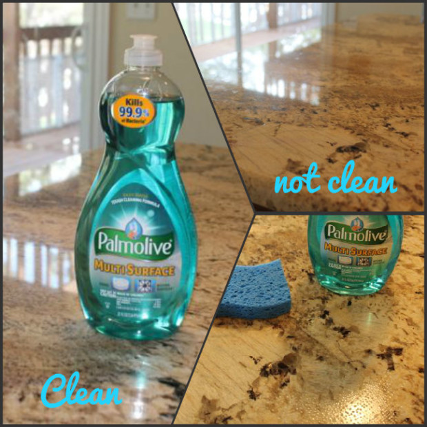 Use Palmolive Multisurface to get kitchen countertops clean for baking from HappyandBlessedHome.com