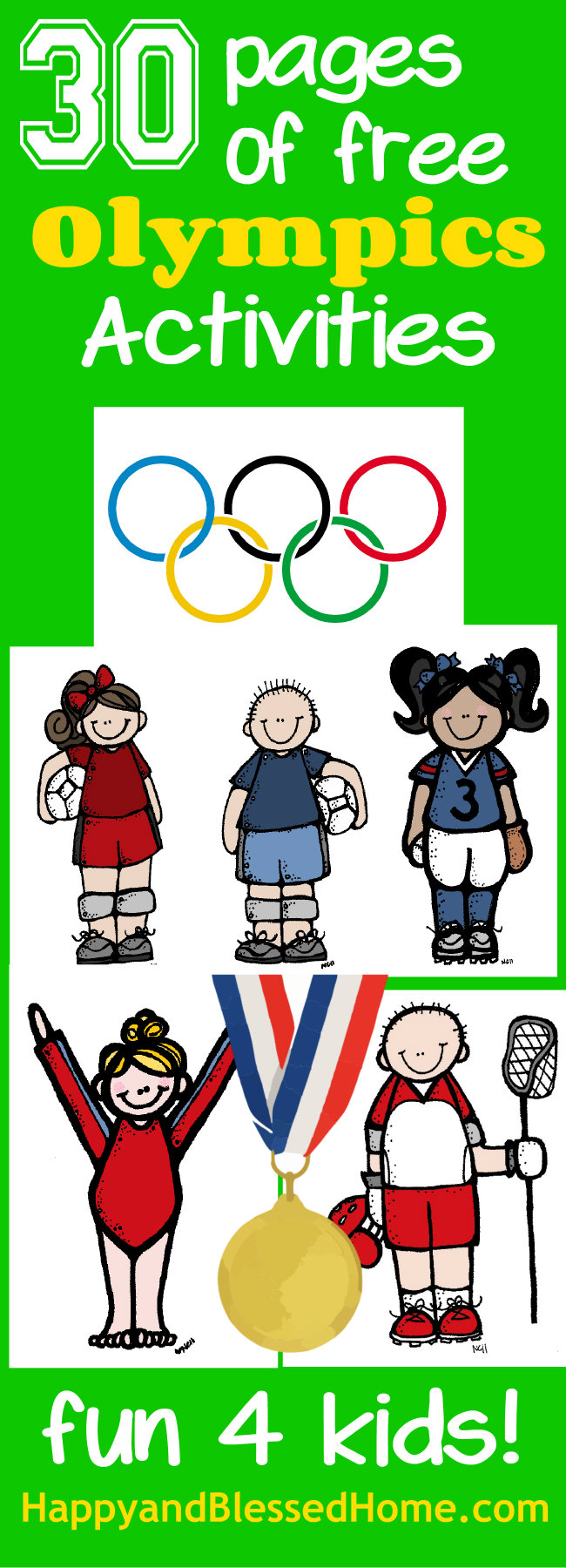 30 Pages of free Olympics Activities for Kids from HappyandBlessedHome.com