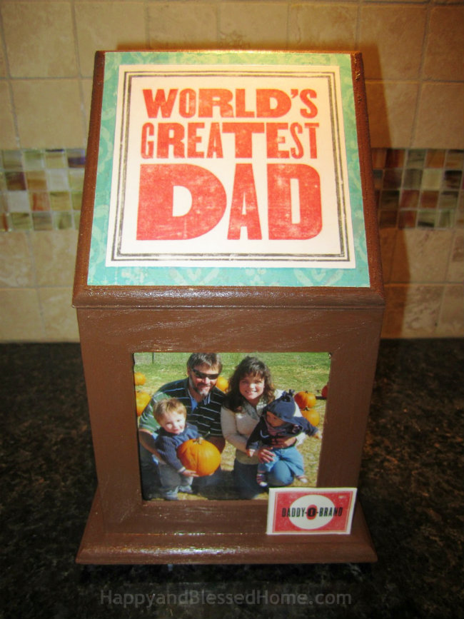 DIY Father's Day Gift Wood Photo Box Craft - easy to personalize Father's Day gift idea from HappyandBlessedHome.com