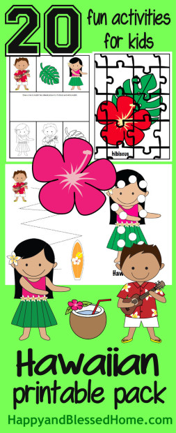 FREE Hawaiian Printable Pack with 20 fun activities for kids from HappyandBlessedHome.com