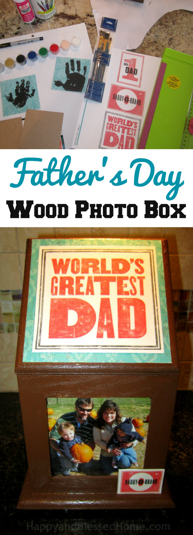 Fun and Easy handmade Father's Day gift idea - Wood Photo Box - an easy craft to personalize for Father's Day tutorial by HappyandBlessedHome.com