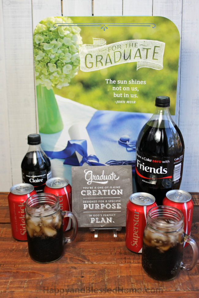 Great Gift ideas for Grads with personalized Coca-Cola bottles from HappyandBlessedHome.com