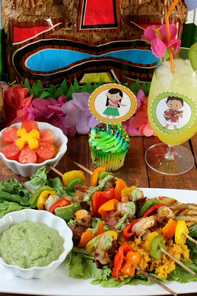 Great idea for Summer - host a luau party with easy shrimp skewers fresh veggies and fruit from HappyandBlessedHome