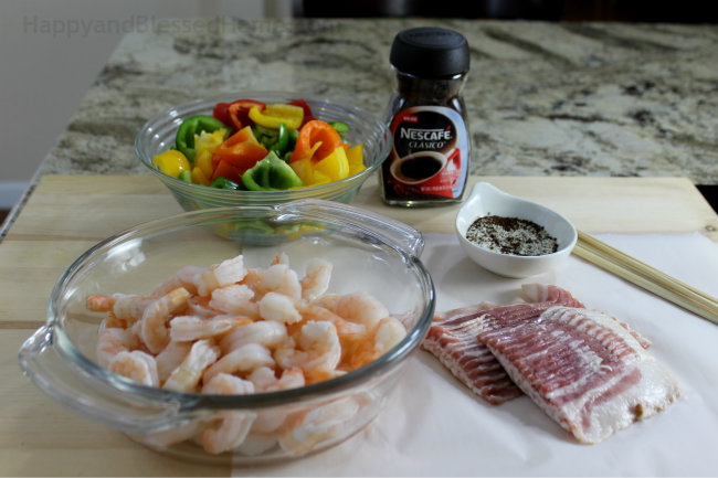 Ingredients for coffee rubbed bacon wrapped shrimp skewers - a savory and delicious grilled shrimp recipe by HappyandBlessedHome.com