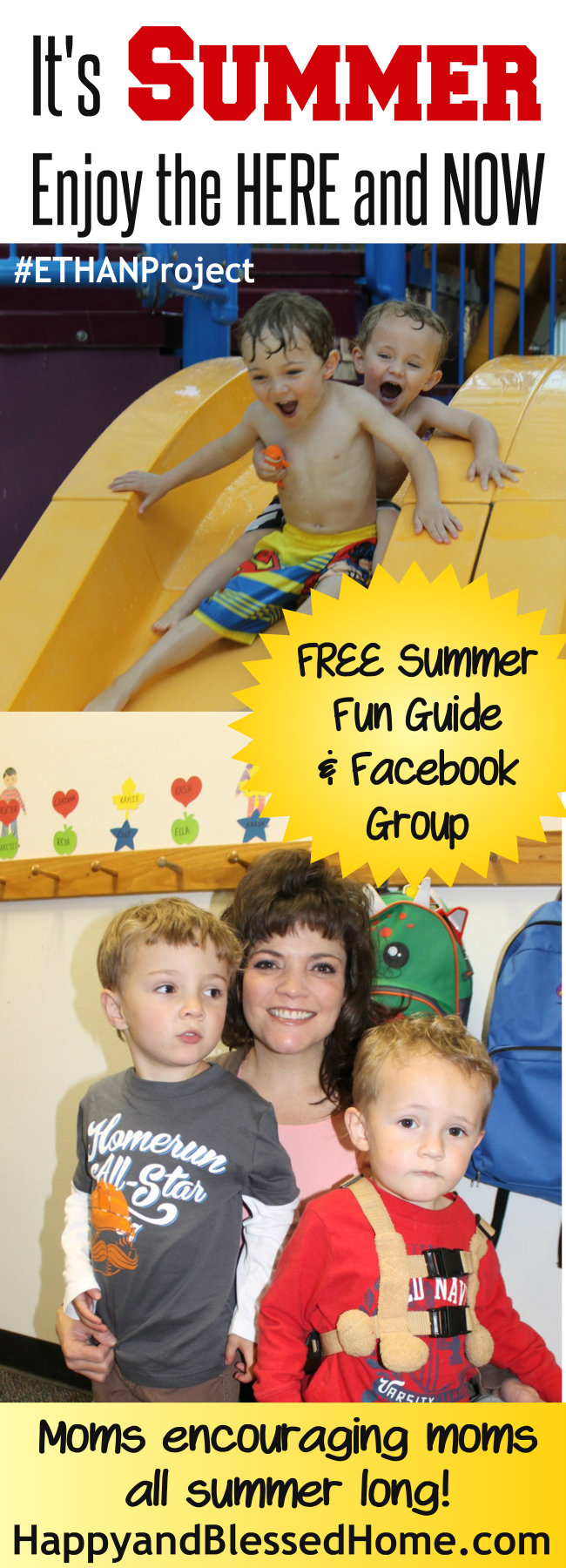 Its Summer Enjoy the Here and Now - free PDF summer planner and Facebook Group to share inspiring summer fun with other moms - details on HappyandBlessedHome.com