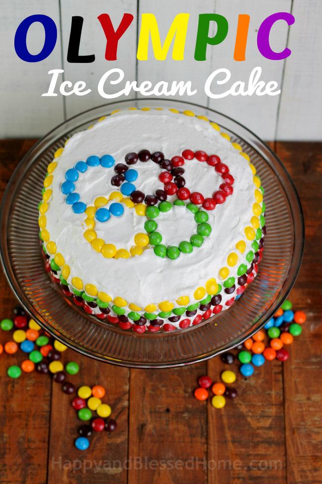 Olympic Ice Cream Cake Easy Ice Cream Cake recipe from HappyandBlessedHome.com